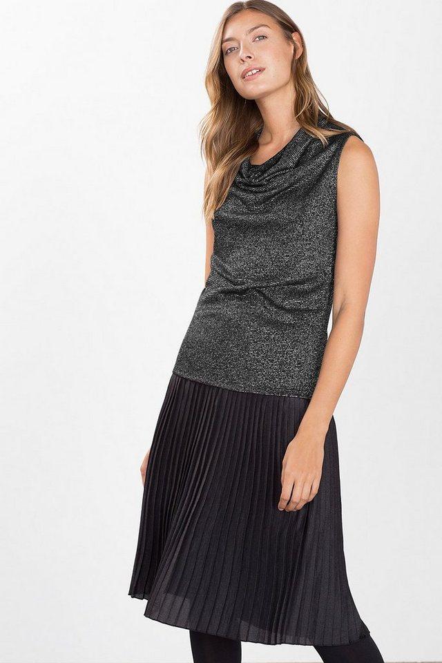 ESPRIT CASUAL Lurex-Top aus meliertem Jersey in BLACK