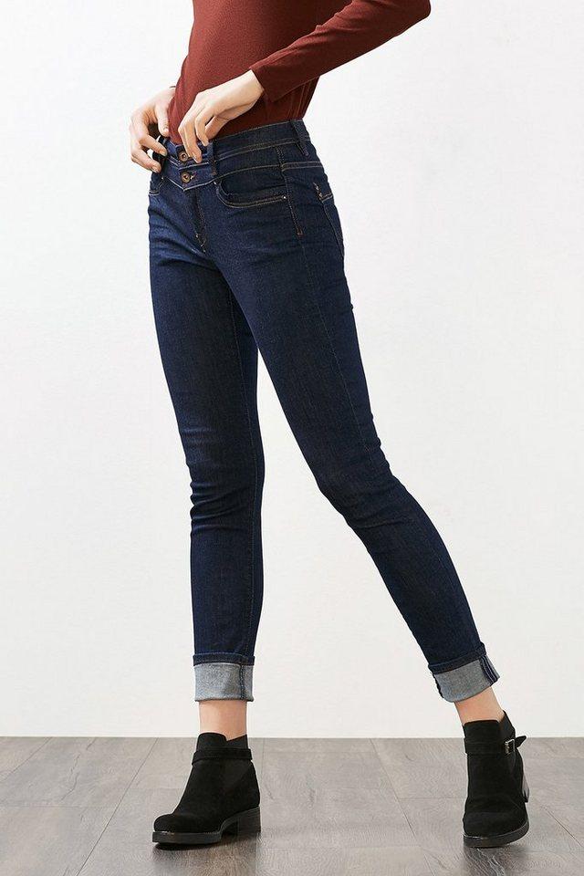 EDC Stretch-Jeans mit Glitzersteinchen in BLUE RINSE