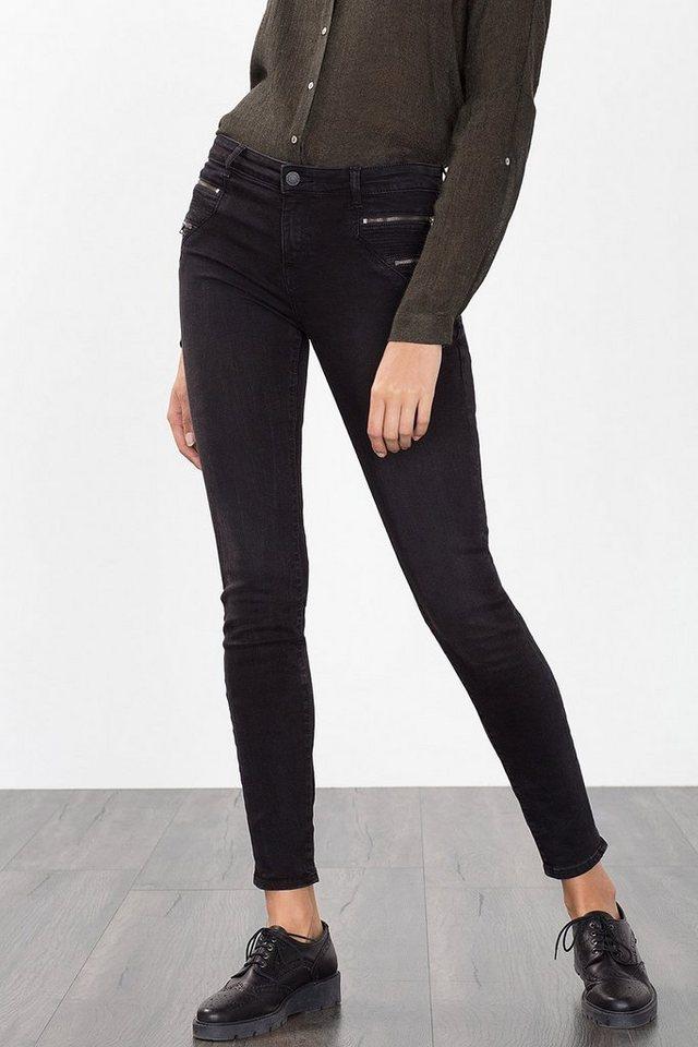 ESPRIT CASUAL Schmale Stretch-Denim mit Zipper-Details in BLACK DARK WASHED
