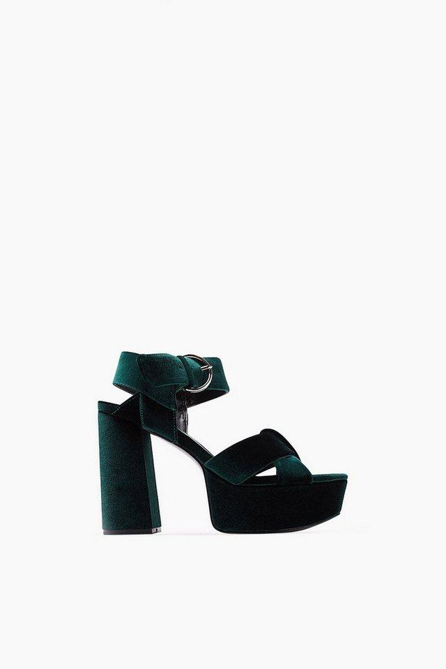 ESPRIT CASUAL Samt Fashion Sandalette in DARK TEAL GREEN