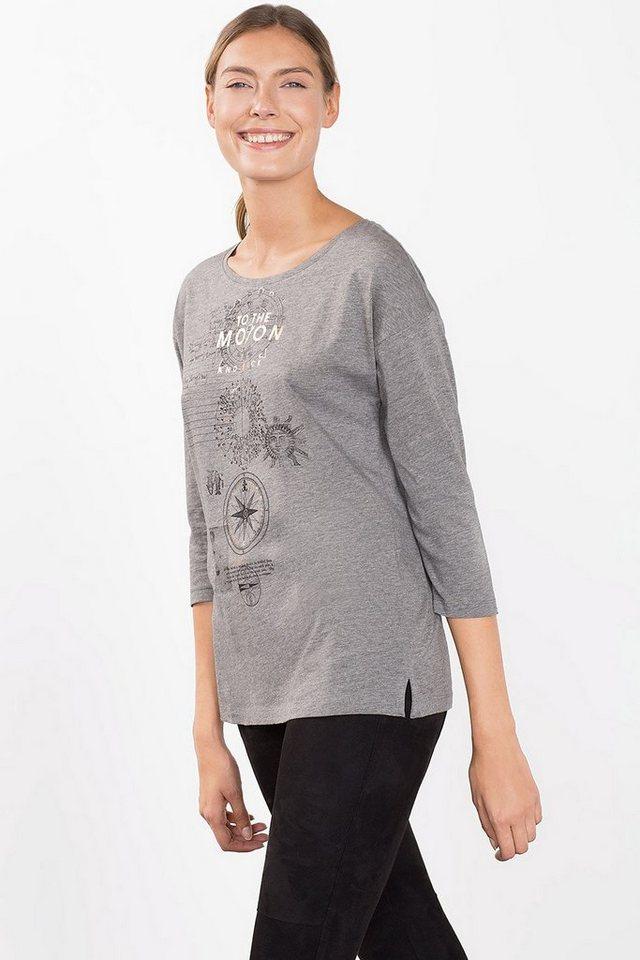 ESPRIT CASUAL Fließendes Artwork-Shirt mit Folien-Print in GUNMETAL