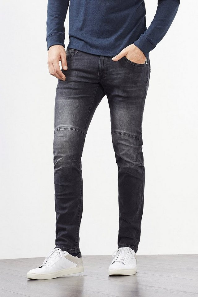 EDC Cool konstruierte Stretch-Jeans in BLACK DARK WASHED