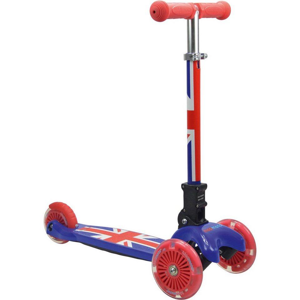 kiddimoto Scooter mit leuchtenden Rädern, Union Jack in rot+weiß+blau