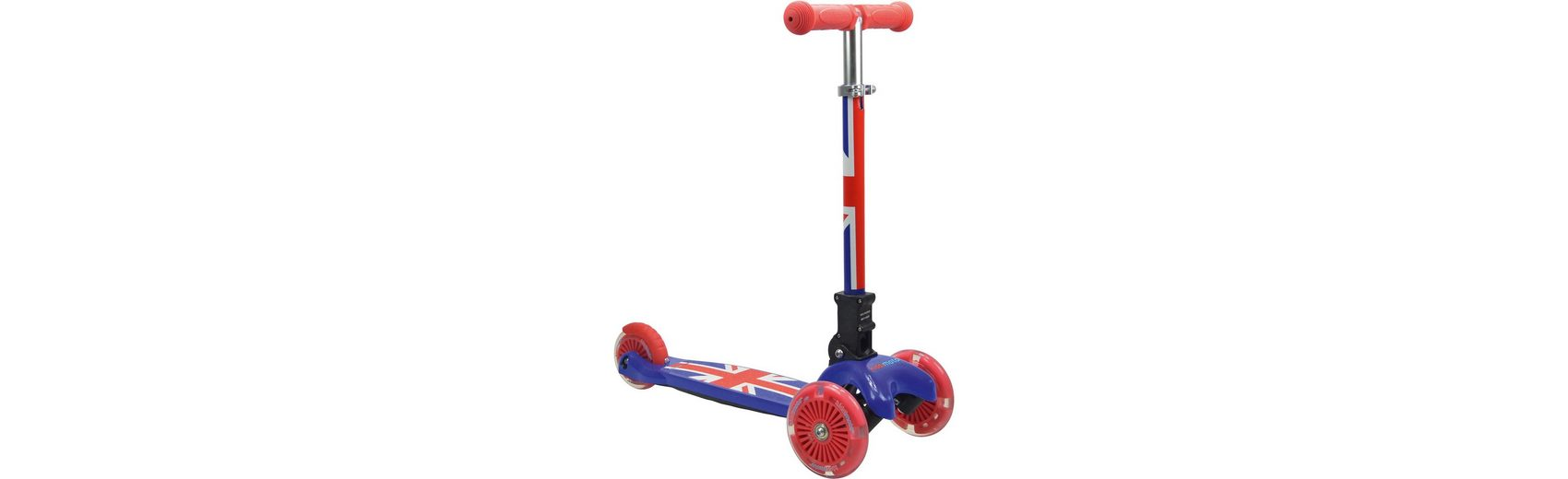 kiddimoto Scooter mit leuchtenden Rädern, Union Jack