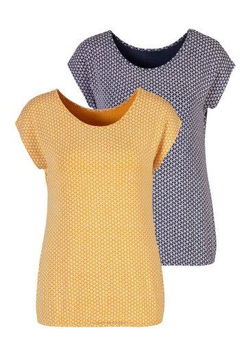 Vivance T-Shirt (2er-Pack) mit elastischem Saum