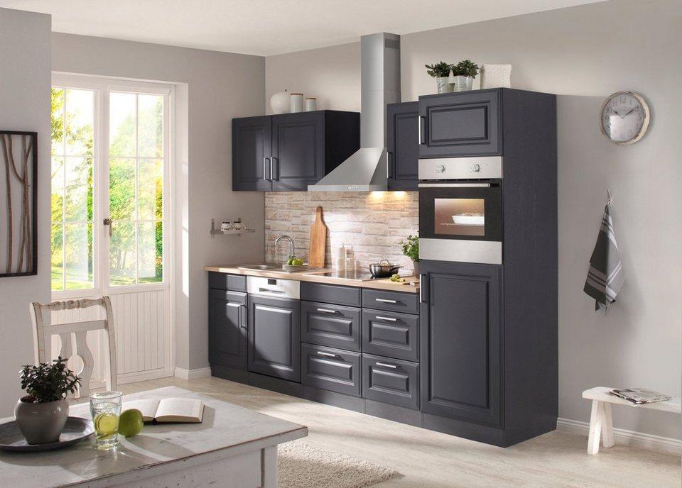 Held Möbel Küchenzeile mit E-Geräten »Stockholm 280 cm« in grau