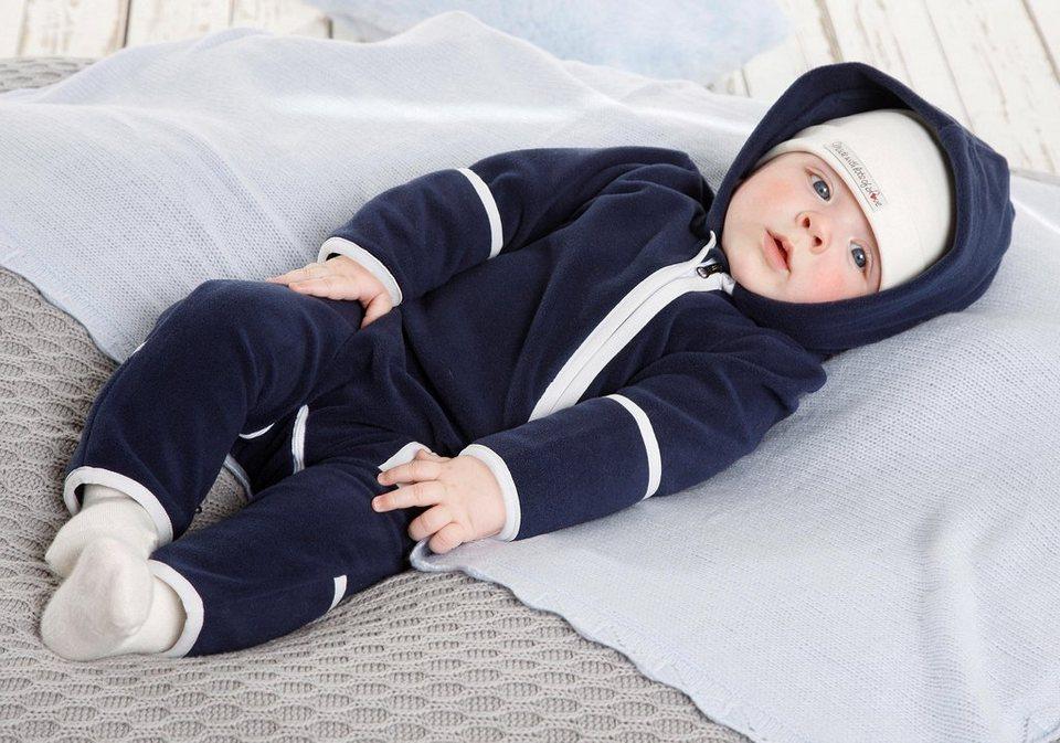 Klitzeklein Fleeceoverall, für Babys in Marine-Offwhite