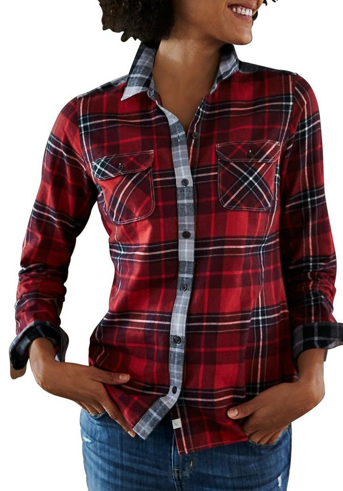 Eddie Bauer Flanell-Patchbluse in Rot-Grau