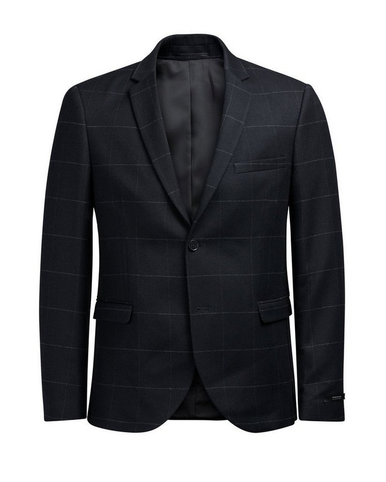 Jack & Jones Wollmischfaser-Fensterkaro- Blazer in Dark Navy
