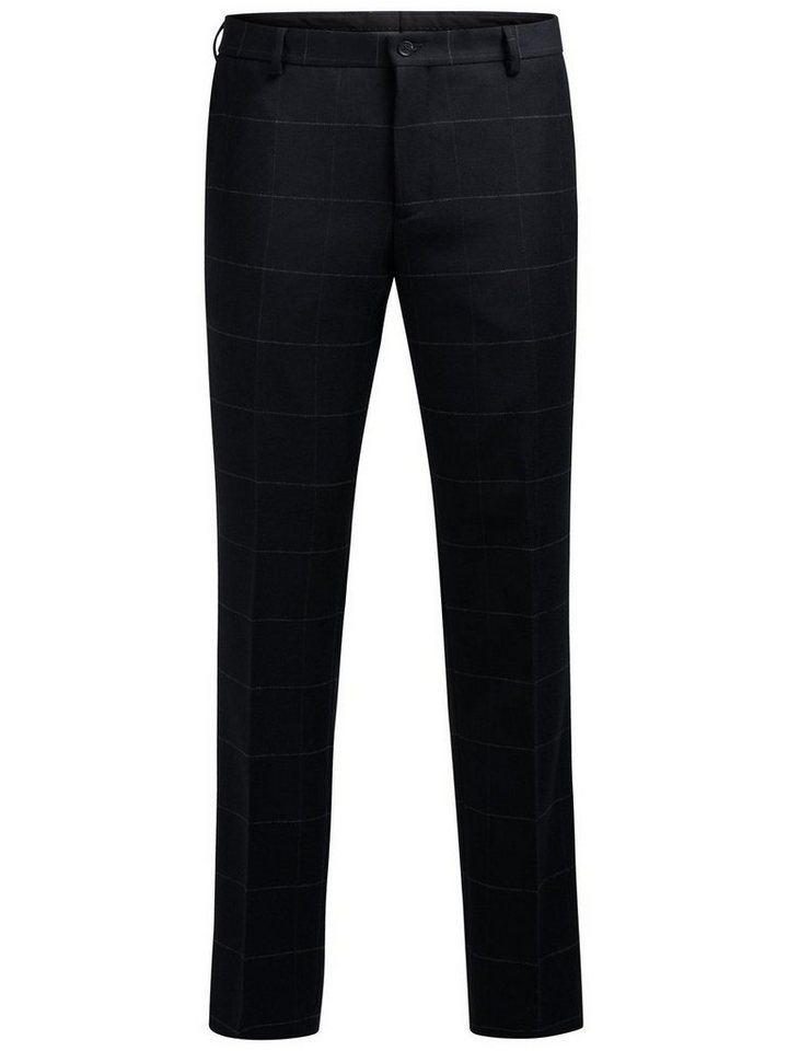 Jack & Jones Wollmischfaser-Fensterkaro- Hose in Dark Navy