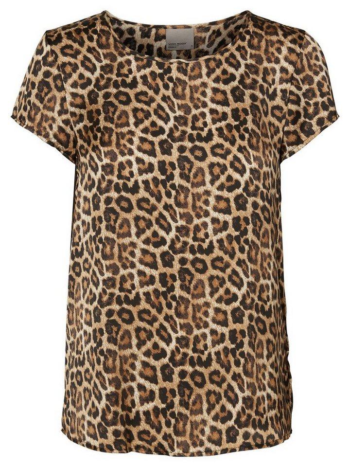 Vero Moda Leopard- Oberteil mit kurzen Ärmeln in Black
