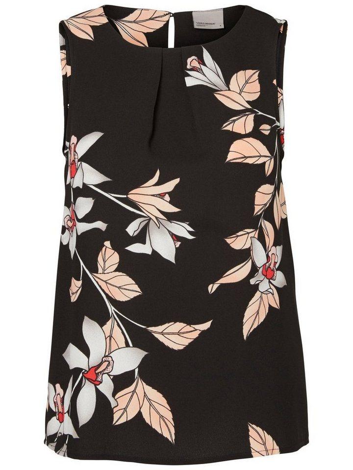 Vero Moda Blumen- Oberteil ohne Ärmel in Black