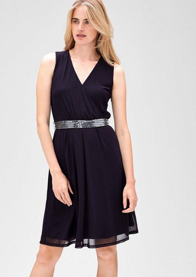 s.Oliver BLACK LABEL Mesh-Kleid mit Pailletten in mystic violet