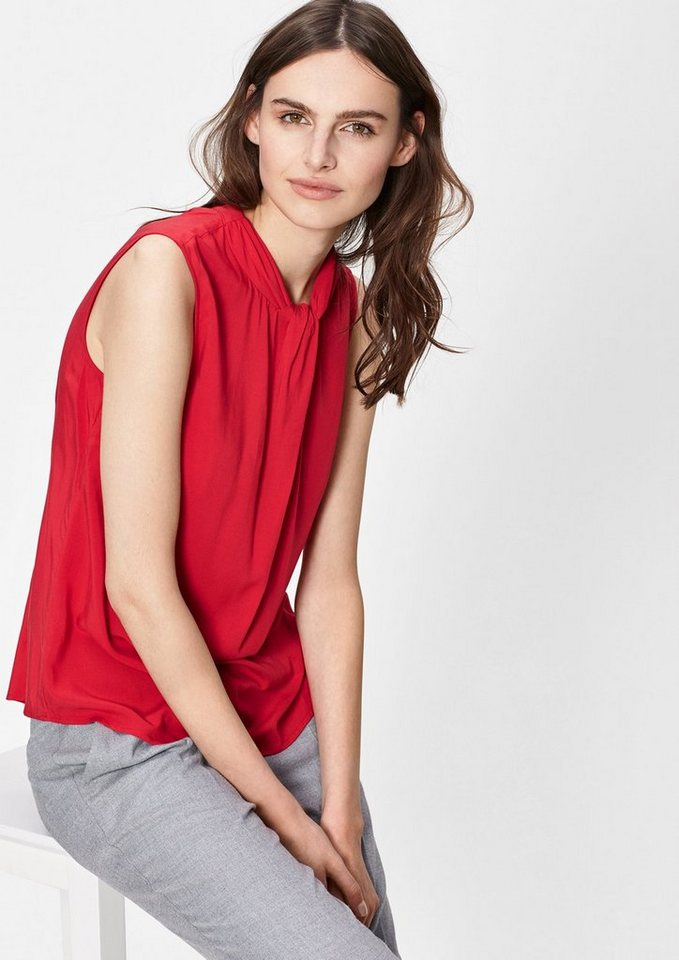 s.Oliver BLACK LABEL Viskosebluse mit Drapierung in cherry red