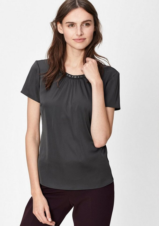 s.Oliver BLACK LABEL Bluse mit Schmuckstein-Kragen in secret grey