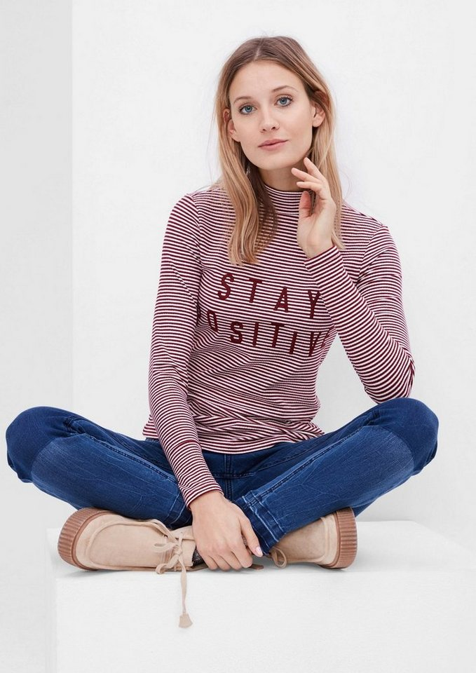 s.Oliver RED LABEL Besticktes Rippshirt in ruby wine stripes