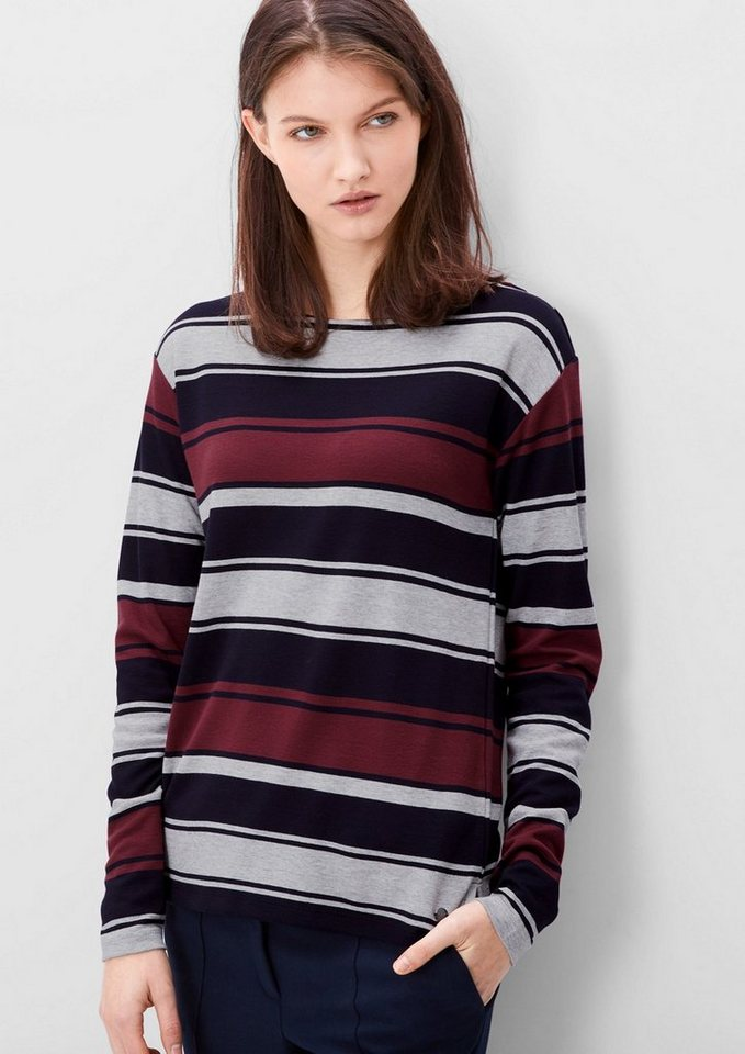 s.Oliver RED LABEL Langarmshirt mit Jacquard-Muster in navy stripes
