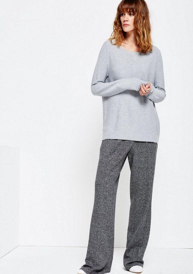 COMMA Schöner Strickpullover mit Rippenmuster in grey melange