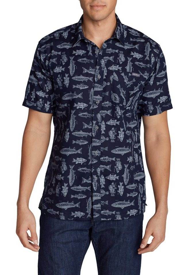Eddie Bauer Hemd gemustert in Blau Fischdruck