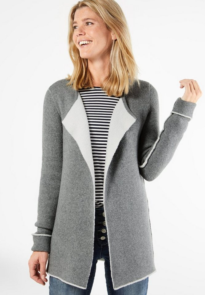 CECIL Weicher Doubleface-Cardigan in light graphit melang
