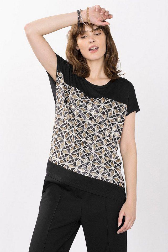 ESPRIT COLLECTION Glam Jersey Shirt mit Pailletten in BLACK