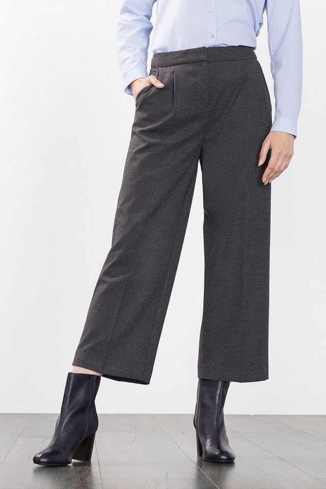 ESPRIT COLLECTION Flanell-Twill Culotte mit Bundfalten in DARK GREY