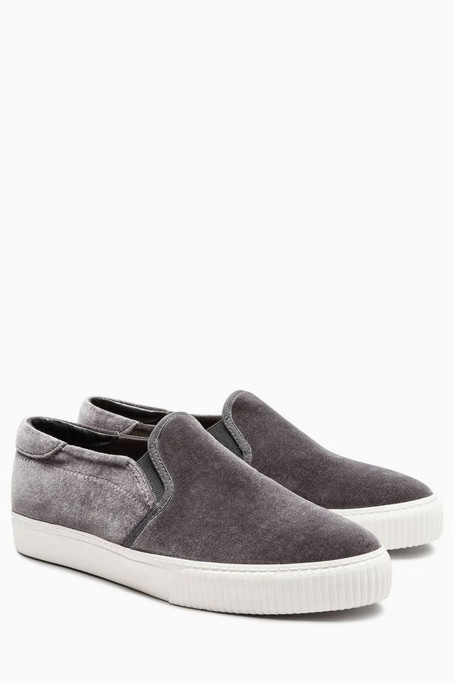 Next Slip-On Sneaker in Grey Velvet