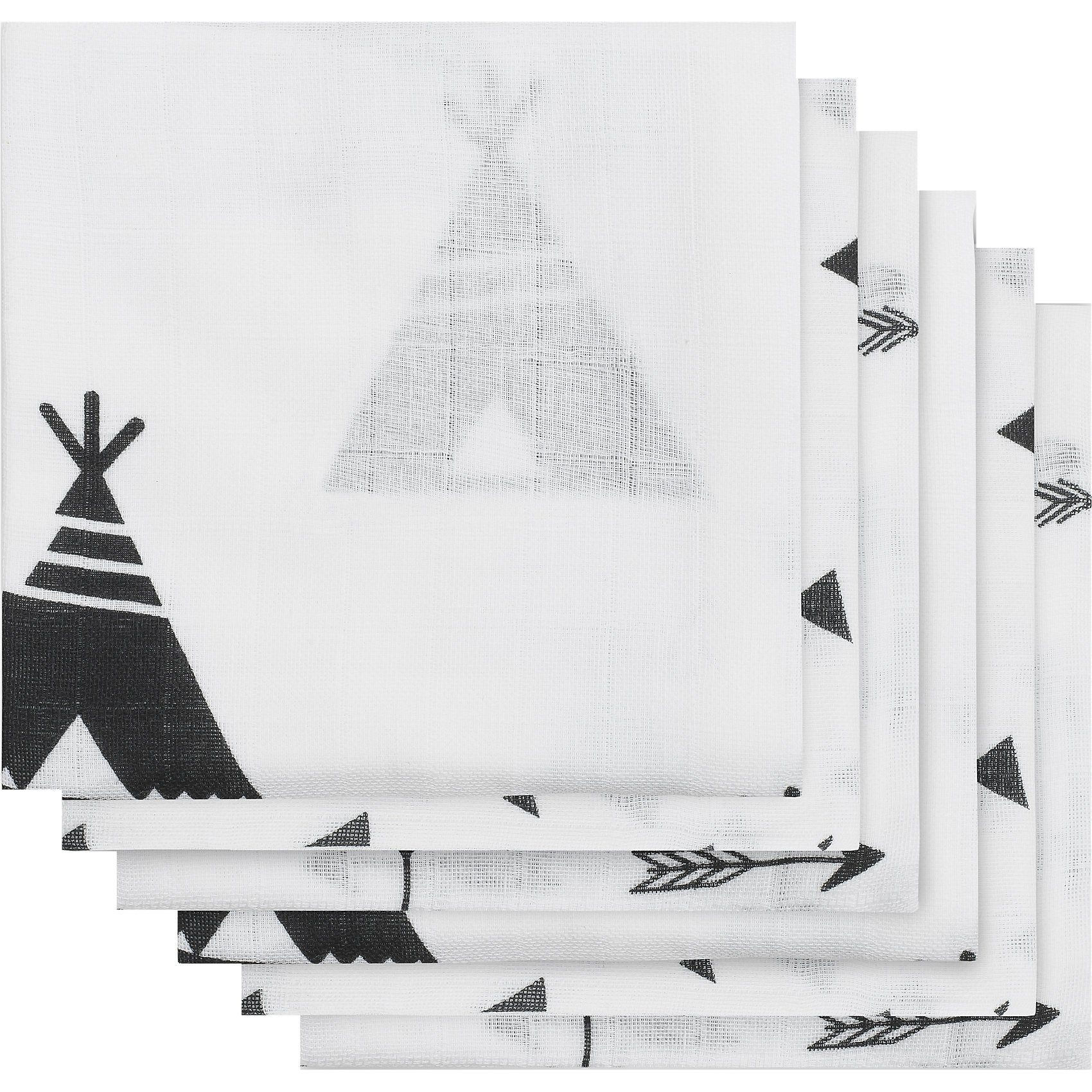 Jollein Mullwindeln, Indianer, schwarz/weiß, 70 x 70 cm, 6er-Pack