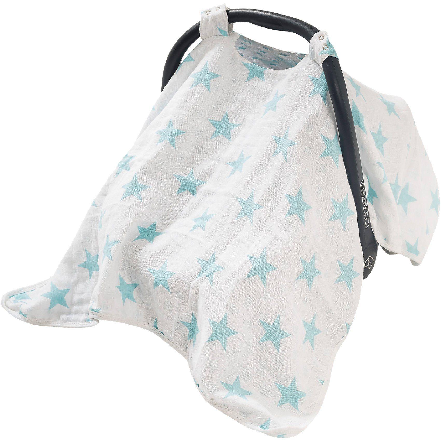 Jollein Wende- Schattenspender mit Druckknöpfen, Sterne, hellblau