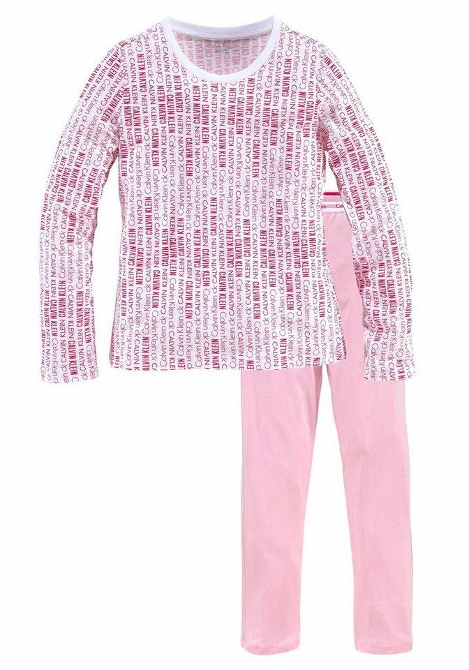 Calvin Klein langer Pyjama mit Logoprint in weiß/pink