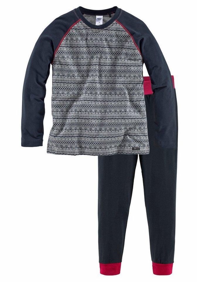 Skiny langer Pyjama »Navy Ethno« in print/navy