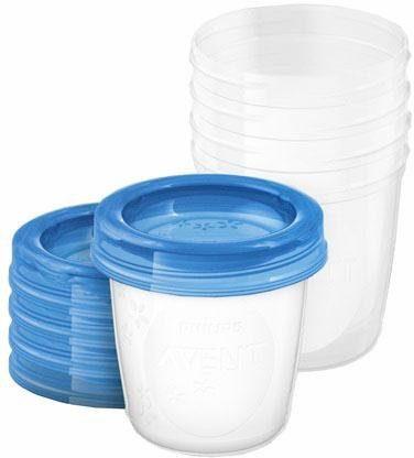 Philips Avent Aufbewahrungsbecher für Muttermilch SCF619/05, 5x 180 ml Becher inklusive Deckel