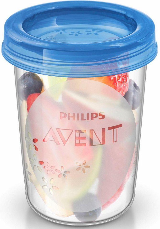 Philips Avent Aufbewahrungsbecher für Babynahrung SCF639/05, 5x 240 ml Becher inklusive Deckel in weiß/blau