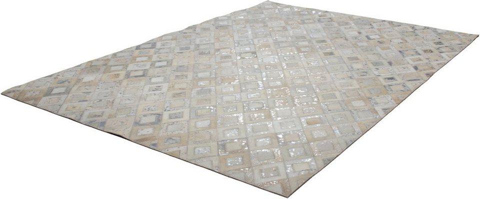 Teppich, Kayoom, »Spark 110«, Patchwork-Leder, handgewebt in Silber-Creme