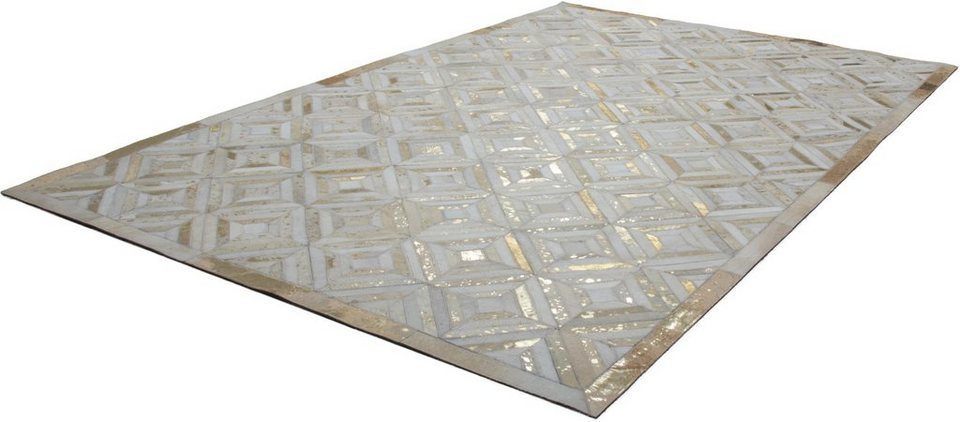 Teppich, Kayoom, »Spark 410«, Patchwork-Leder, handgewebt in Gold-Creme