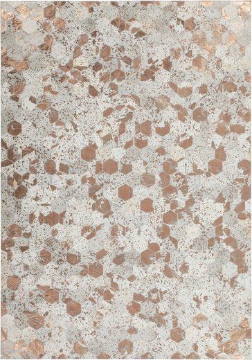 Lederteppich »Spark 210«, Kayoom, rechteckig, Höhe 8 mm, Patchwork-echtes Leder-Fell, Wohnzimmer