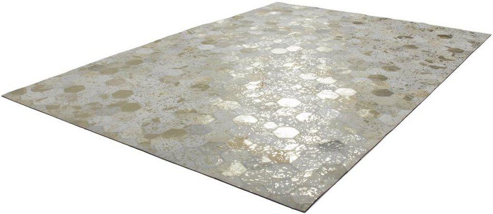 Teppich, Kayoom, »Spark 210«, Patchwork-Leder, handgewebt in Gold-Creme