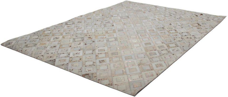 Teppich, Kayoom, »Spark 110«, Patchwork-Leder, handgewebt in Kupfer-Creme