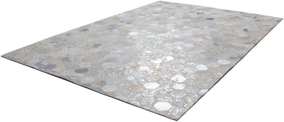 Teppich, Kayoom, »Spark 210«, Patchwork-Leder, handgewebt in Silber-Creme