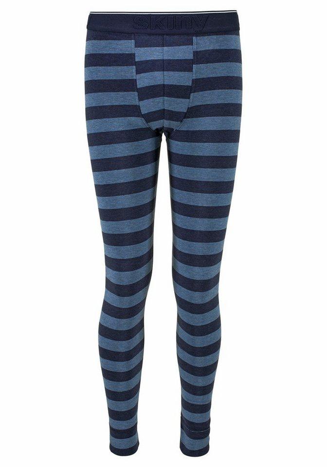 Skiny lange Schlafhose mit schmalem Bein in denim stripe