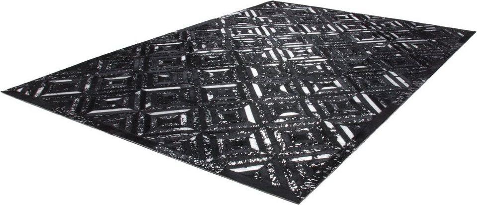 Teppich, Kayoom, »Spark 410«, Patchwork-Leder, handgewebt in Schwarz-Silb