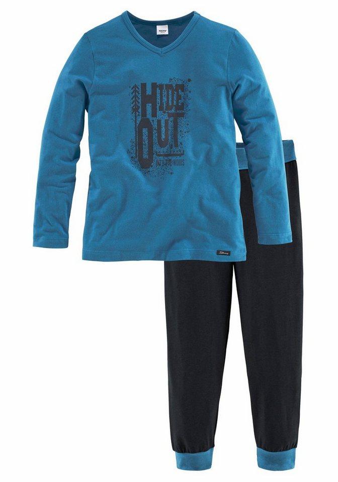 Skiny langer Pyjama mit kontrastfarbenen Bündchen in bla/nav