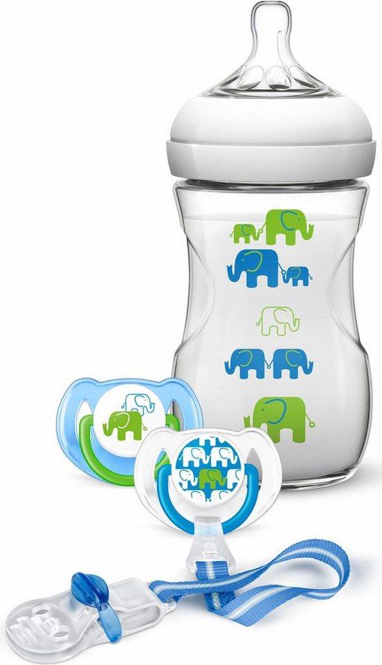 Philips Avent Naturnah-Babyfläschchen SCD627/01, Elefanten Geschenk-Set für Jungen in weiß/blau