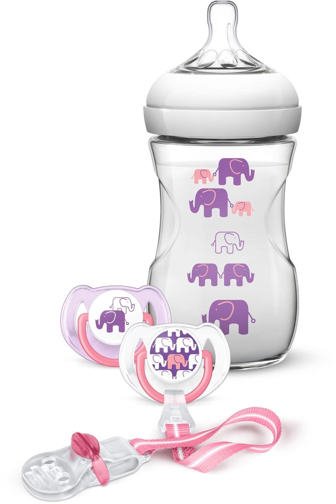Philips Avent Naturnah-Babyfläschchen SCD628/01, Elefanten Geschenk-Set für Mädchen