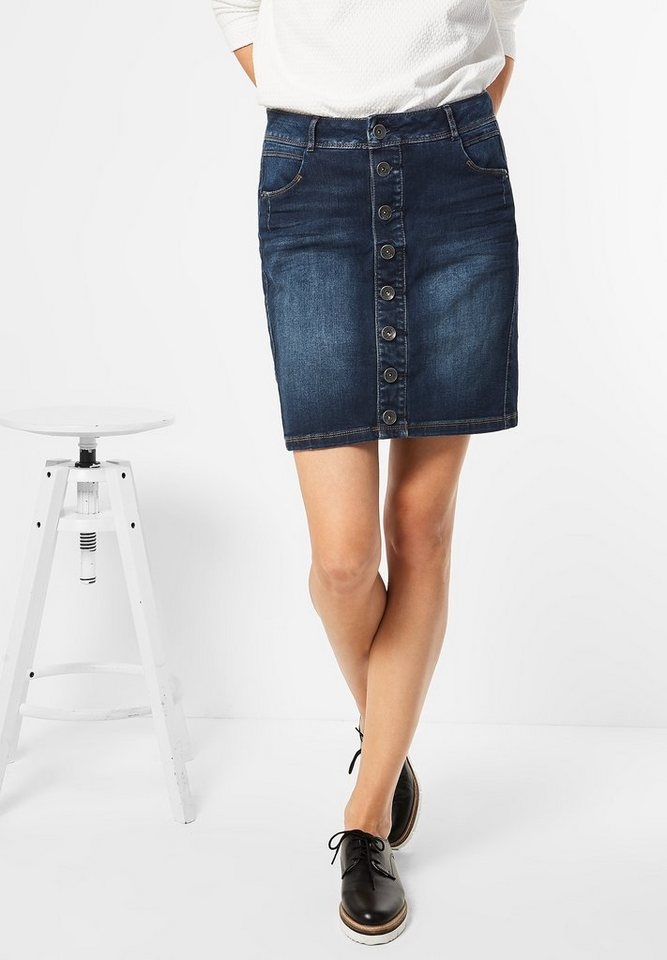 Street One Jeans Mini mit Knopfleiste in dark blue wash
