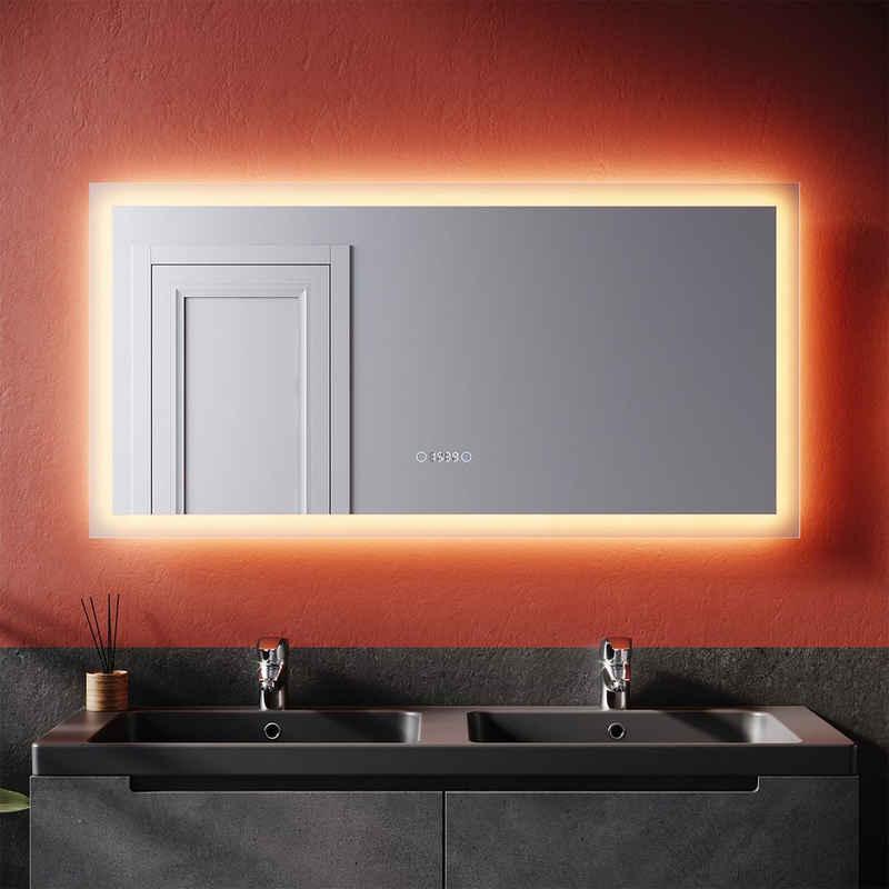 SONNI Badspiegel »Badspiegel mit LED-Beleuchtung 120×60 cm beschlagfrei Dimmbar, Lichtfarbe einstellbar mit LED Uhr Temperaturanzeige Wandspiegel Touch-Schalter«