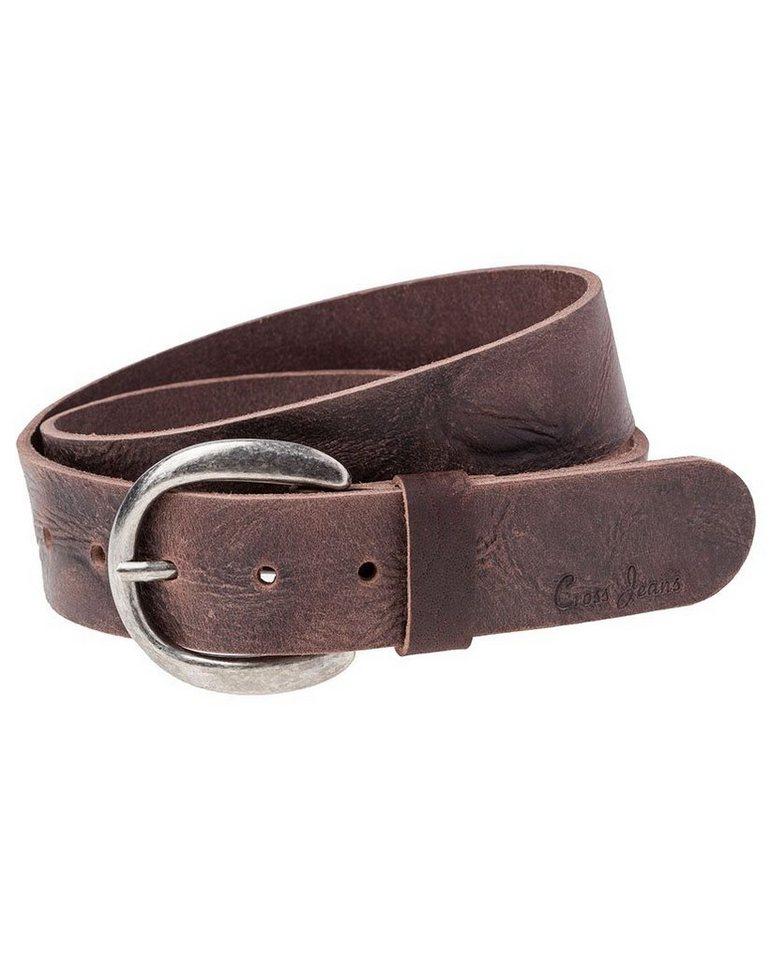 CROSS Jeans ® Ledergürtel in Vintage-Look in dark brown