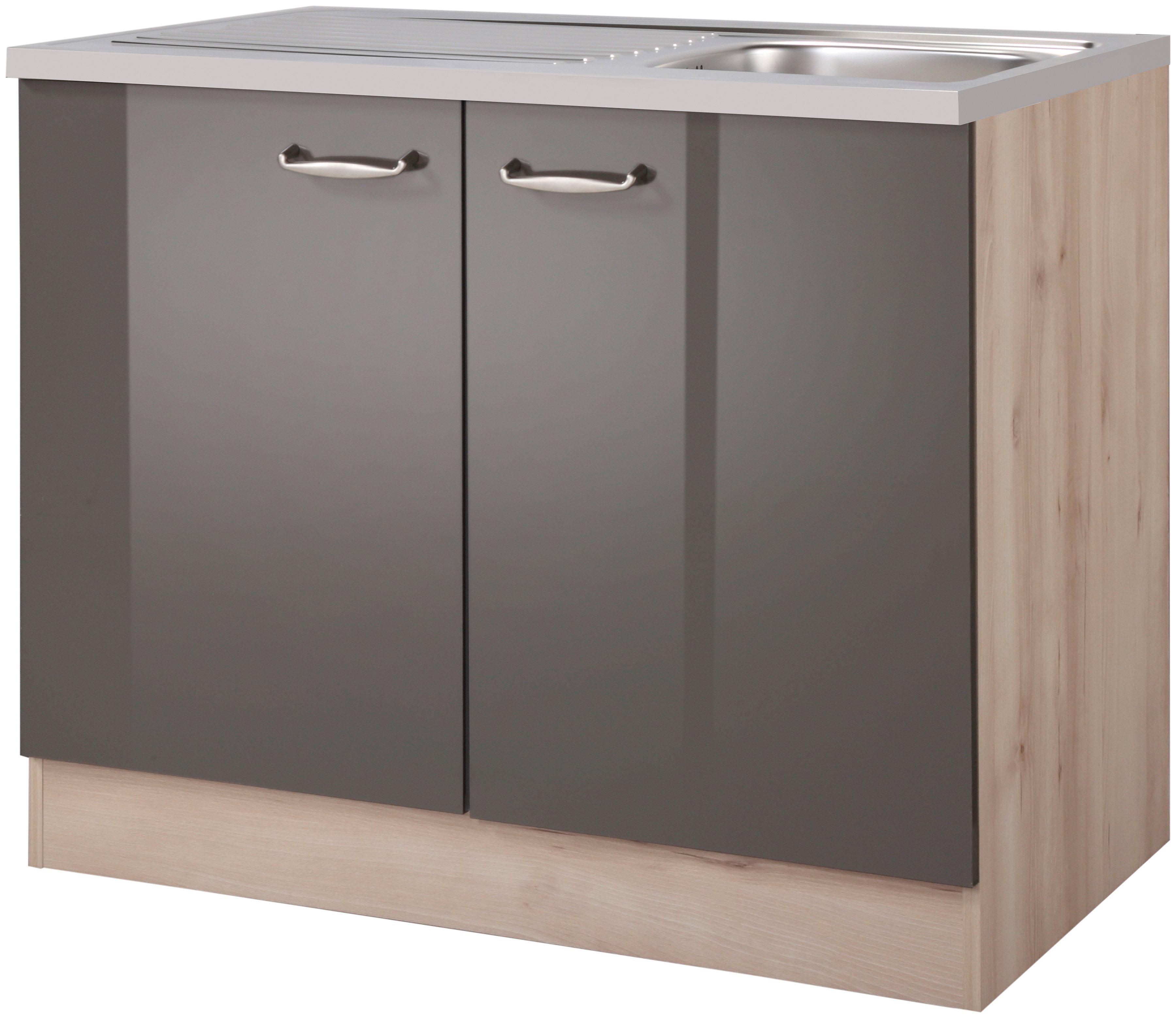 OPTIFIT Spülenschrank »Calgary, Breite 100 cm« | Küche und Esszimmer > Küchenschränke > Spülenschränke | Holzwerkstoff | OPTIFIT