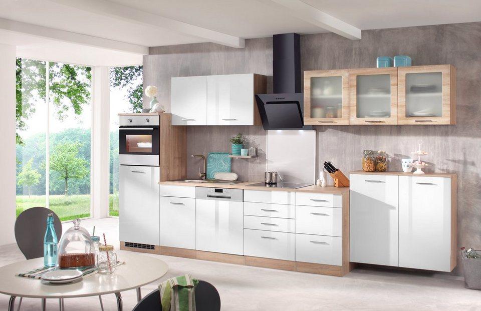 Küchenzeile mit E-Geräten »Prato, Breite 380 cm« in weiß