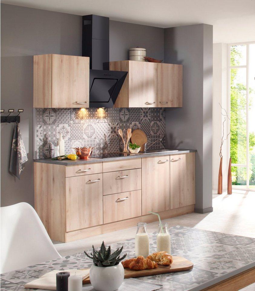 Küchenzeile mit E-Geräten »Calgary 210 cm« in edelbuche
